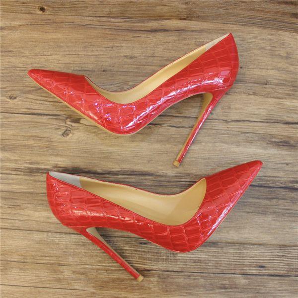 Бесплатная доставка женщины леди женщина 2019ss мода красный лакированная кожа острым носом свадебные каблуки туфли на шпильках туфли на высоком каблуке туфли на низу 12 см 10 см фото