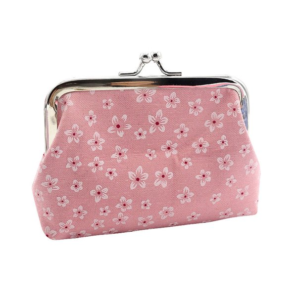 vintage succulent cotton girl coin purse 2019 simple buckle flower seal fashion coin purse key/mobile phone bag for gift a60 (431579136) photo