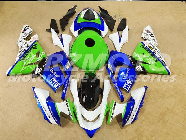 Three beautiful gift new ab fairing plate for kawa aki ninja zx 10r zx10r 2004 2005 bodywork et green white o90