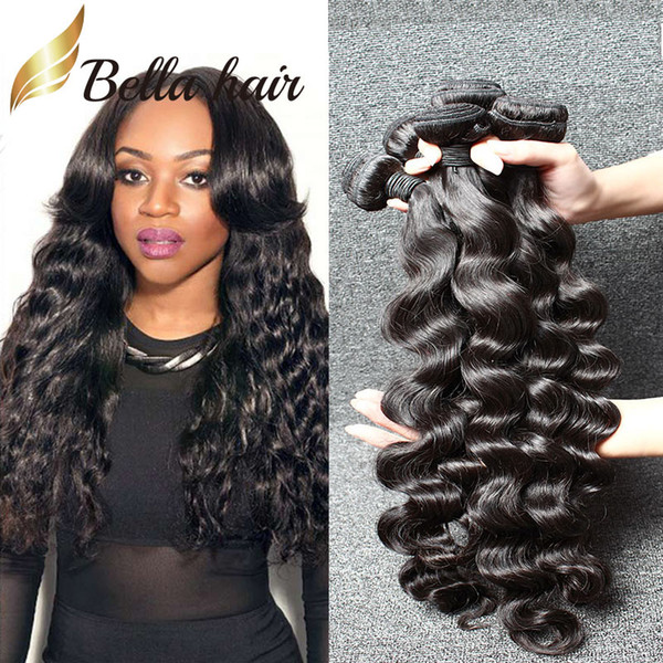 Bella Hair® 3pcs / lot MinkHair Brazilianhair Человеческие волосы Weave 8A Natural Black Color Loose Deep Wave Hair Extensions Double Weft
