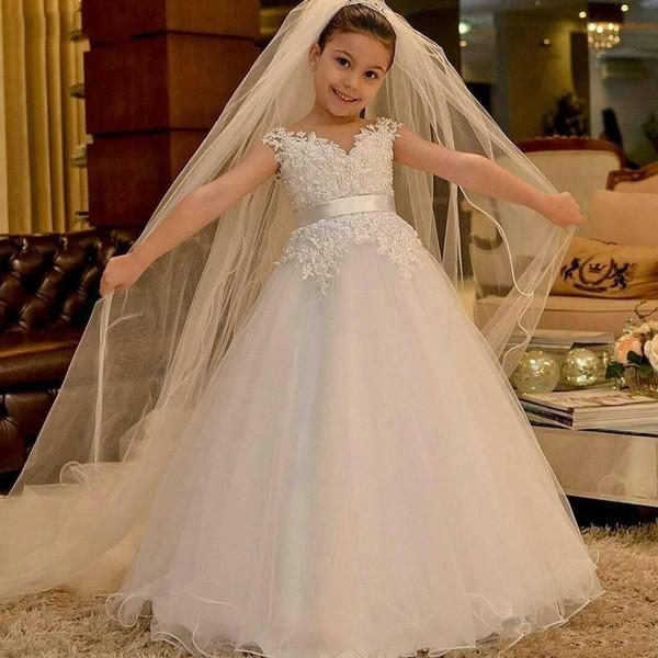 Белый бальное платье тюль девушки цветка платья для свадьбы V шеи аппликации из бисера ленты дети Причастие платье девочка Крещение платье