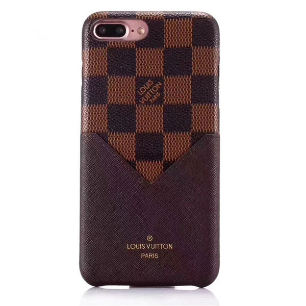 One piece fa hion grid leather card  lot phone ca e for iphone x x  max xr 8 7 plu  hard black cover  for iphone 6 6 plu  luxury