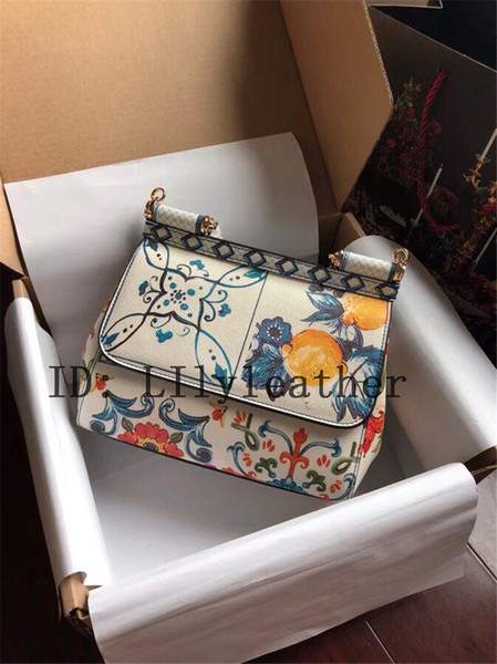 Многие новый стиль цветочные женщины кожаная сумка Сицилия оранжевый фрукты / цветок одно плечо сумка верхний слой воловьей кожи 25 см