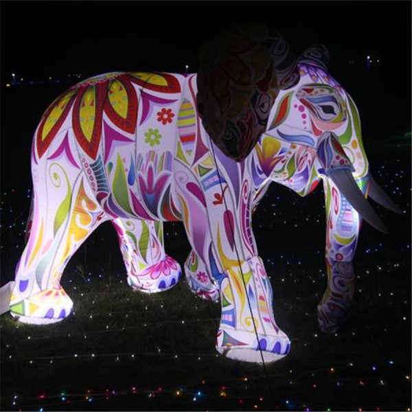 3m cu tomized giant inflatable elephant with led light  for outdoor decoration
