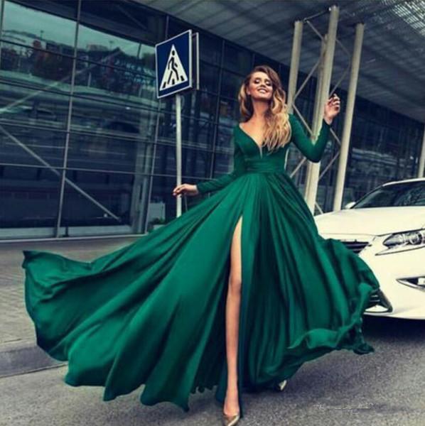 2018 Темно-Зеленый Платье Выпускного Вечера Глубокий V Шеи Шифон Длина Пола Сторона