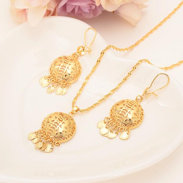Золотой цвет Дубай Индия африканский бисер кулон серьги начальная цепь для женщи