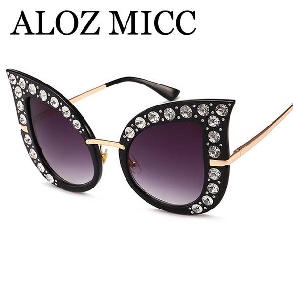 ALOZ MICC роскошные солнцезащитные очки Алмаз cat eye солнцезащитные очки женщин дизайнер солнцезащитные очки Мода негабаритных хрустальные очки Gafas de sol uv400 A539 фото