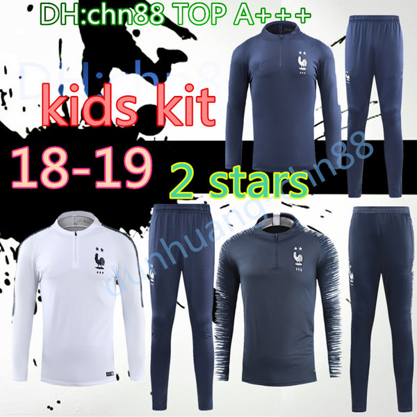 18 19 franceh 2 tar kid jacket track uit 2018 2019 world cup mbappe luca home football occer kit training uit weat hirt quality