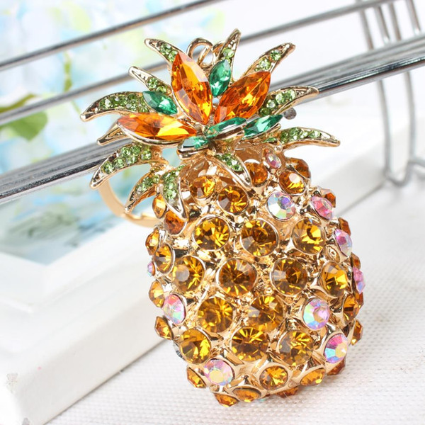 pineapple ananas fruit lovely pendant charm crystal rhinestone purse bag car keyring key chain wedding party girl gift (417827867) photo
