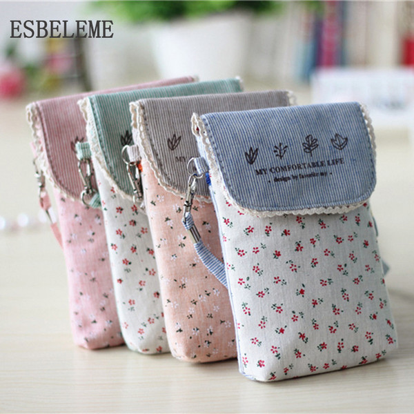 cute mobile phone bags for women ultralight cotton fabric bag flower cartoon print girl mini coin purse ladies flap cn001 (416824581) photo