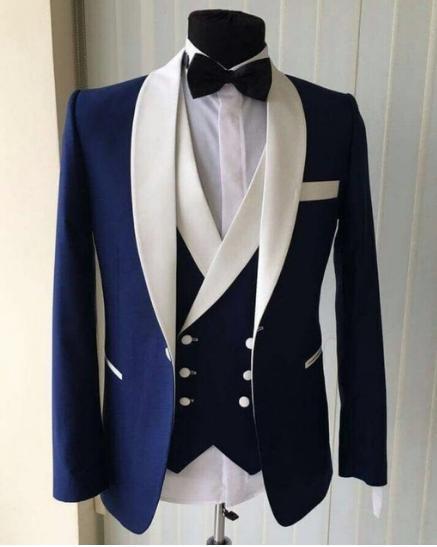 Модные мужские костюмы Slim Fit Мужские костюмы на заказ Размер и цвет смокинг пиджак 3шт Свадебные мужские костюмы (куртка + брюки + жилет + галстук)