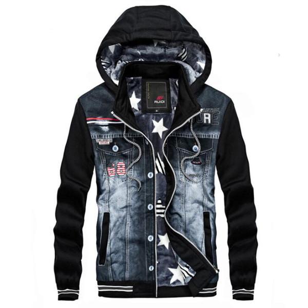 Зима толстая джинсовая куртка мужчины с капюшоном спортивная одежда на открытом фото