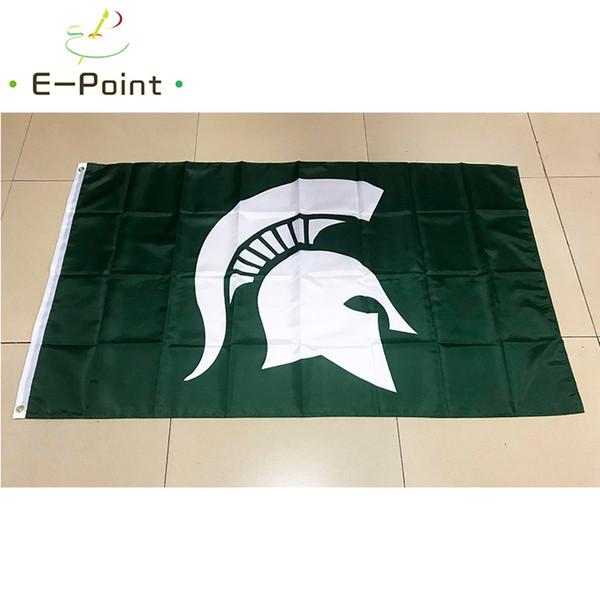 Флаг штата Мичиган спартанцы полиэстер флаг 3 фута * 5 футов (150 см*90 см) флаг баннер фото