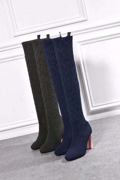 Luxury New Spring Womens Silhouette Thigh High Boot 10CM Casual Socks Shoes Design Embroidery 22 Inches Long Boots Size 35-41