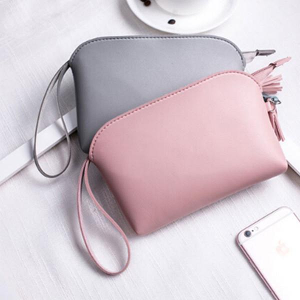 solid simple men women wallets pu leather bag zipper clutch coin purse phone wristlet portable handbag for parties coin purse (432061891) photo