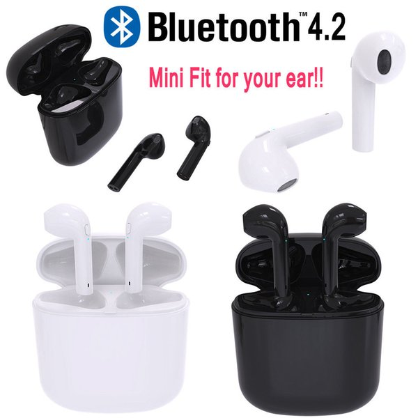 2019 mini hbq i8 wireless bluetooth earphone 4.2 car earphone earbuds stereo headphones headsets earpiece charging box for iphone samsung