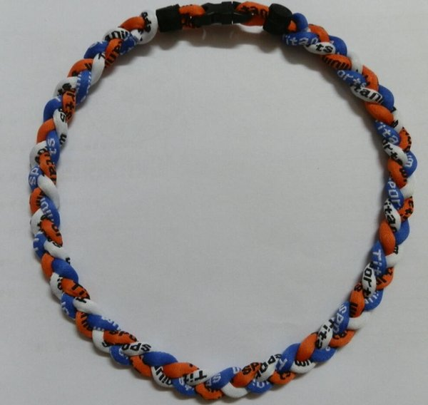 Healthy triple necklace titanium ionic port ba eball necklace 16 18 20 22 inch 3 rope tornado braid for women men trendy item whole ale
