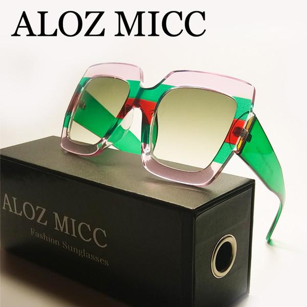 ALOZ MICC высокое качество негабаритных квадратных солнцезащитные очки Женщины мужчины роскошные солнцезащитные очки Кристалл большая рамка солнцезащитные очки UV400 женские очки Q305 фото