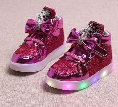 New Brand Hello Kitty Children's Luminous Sneakers Rhinestone Kids LED Flashing Shoes girls Casual Shoes with Lights Size 21~30