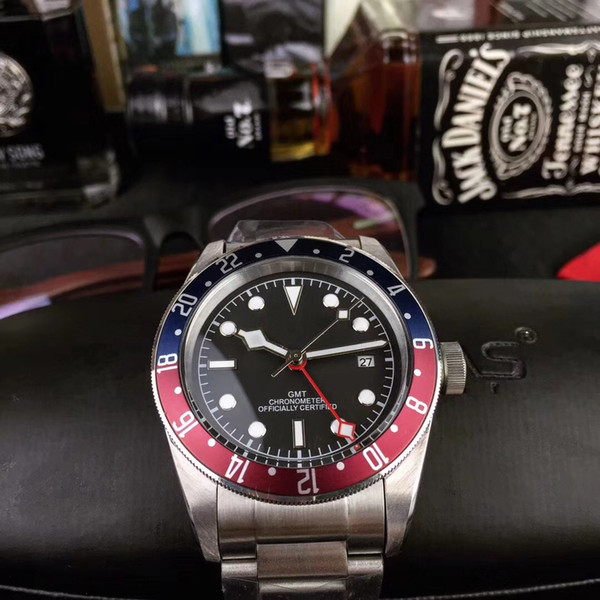 New aaa luxury biwan original buckle m79830rb 0001 black dial automatic men 039 watch red and blue bezel tainle teel trap