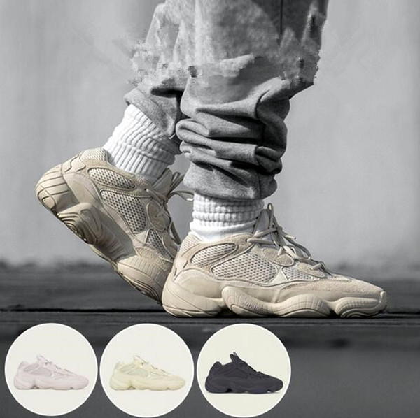 2018 New hot brand 500 Blush Desert Rat 500 Super Moon Yellow running shoes 500 Utility Black sneaker sports shoes with box free shipping
