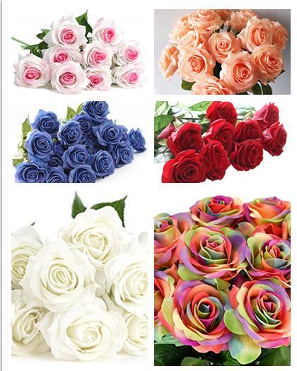 Ro e artificial flower real touch latex fake flower wedding decor imulation fake ro e flower wedding bouquet wreath home garden decor