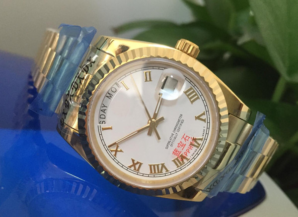 Brand watche day date pre ident 40 mm 228238 18k yellow gold white roman dial automatic mechanical men watch watche