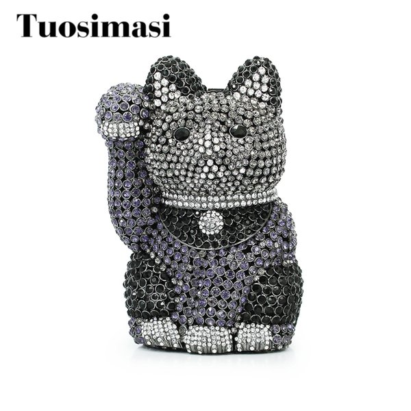 unique design dazzling crystal fortune cat shape women black evening bag wedding party metal clutches purses bridal clutch bag (415597467) photo