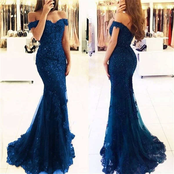 Short Sleeves Dark Green Charming Mermaid Evening Gowns Off the Shoulder Beaded Lace Appliques Royal Blue Prom Dress