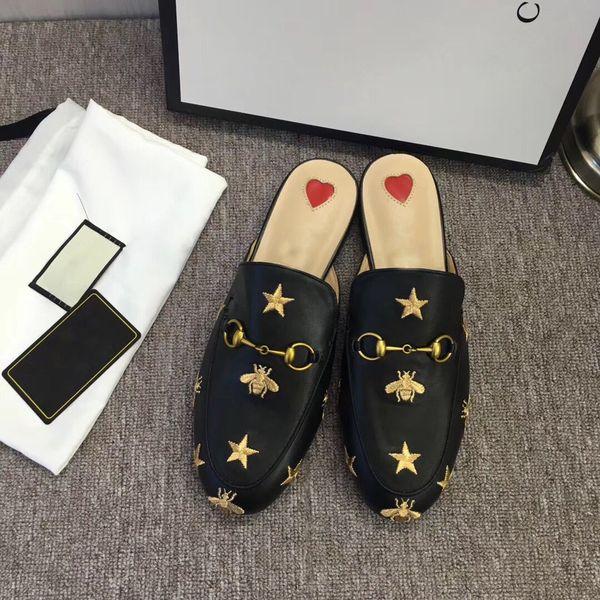 Новые женщины лето вышивка тапочки из натуральной кожи мулы плоские мулы обувь металлические цепи Повседневная обувь мокасины мода открытый тапочки дамы