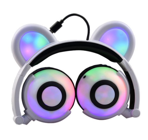 cute cat ear headphones glowing bear gaming headset earphone with led light for pc lapcomputer mobile phone 7 colors available