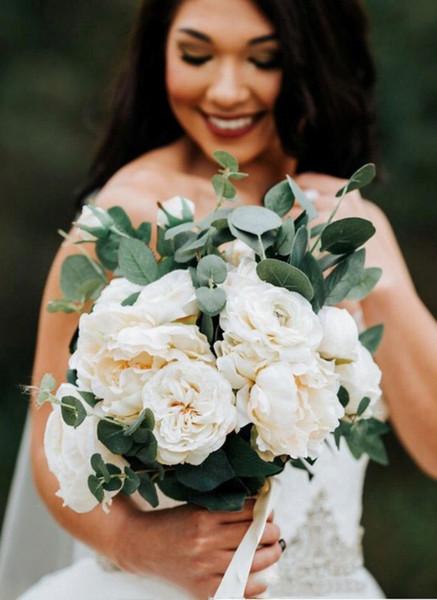 Свадебный букет из слоновой кости и эвкалипта-шелковые цветы, свадебный аксессуа фото