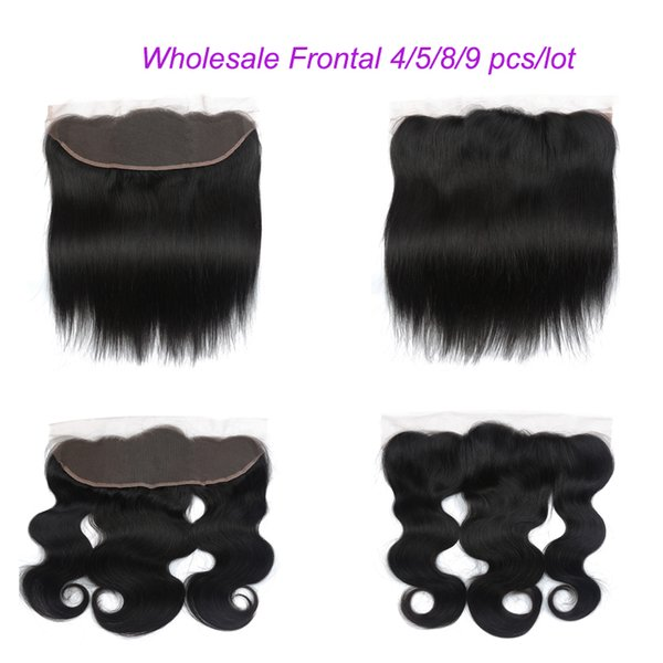 Whole ale traight and body wave lace frontal 13 4 brazilian human hair pre plucked ear to ear lace front part 8 20 inch