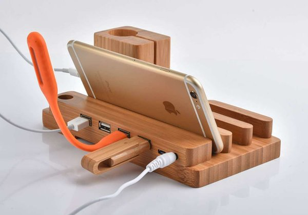 Bamboo wood 4 u b port  de kuniver al charger  tand charging  tation holder for android apple watch iphone ipad iwatch