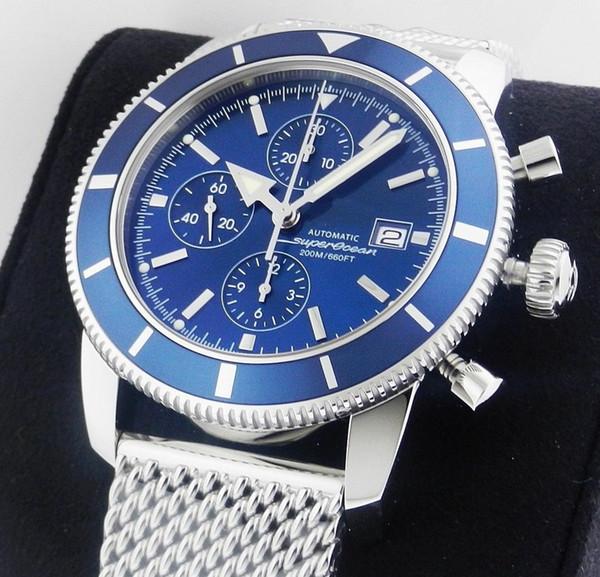Роскошные AAA высокое качество Superocean Heritage Chronographe спортивные стили мужские часы хронограф кварцевые часы стали синий 46 мм мужские наручные часы