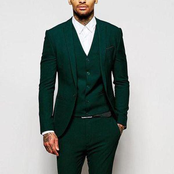 2018 Зеленый формальные свадебные мужские костюмы для женихов носить три части отделки подходят на заказ жених смокинги вечерняя вечеринка пиджак брюки жилет