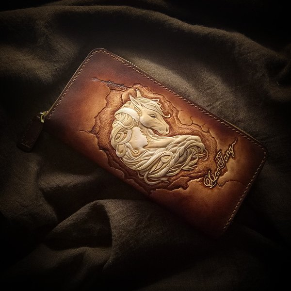 handmade wallets original design carving prince charming purses women long clutch vegetable tanned leather wallet gift (432468710) photo