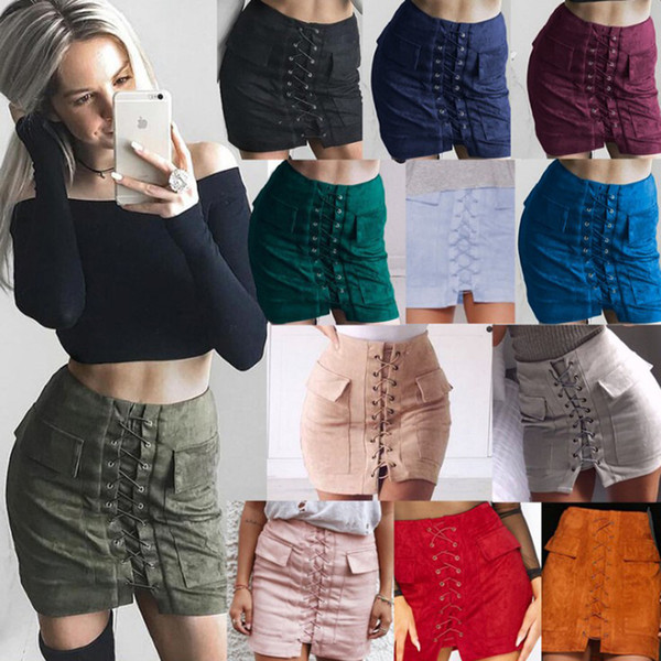 2017 Autumn Suede Leather Women Brand Skirt Lace Up Vintage High Waist Preppy Pocket Winter Bodycon Bandage Short Pencil Skirts