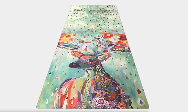Искусство печати йога фитнес упражнения мат живопись олень замша резиновый коврик завод прямых