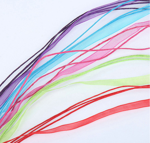 """100 шт. / лот 18 цветов органза вуаль ленты ожерелья подвески цепи шнур 18 """" ювелирные изделия DIY"""