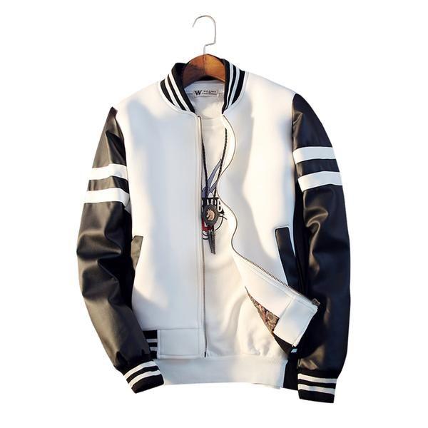 Baseball Jacket Spring Men Jacket Splicing PU Sleeve Coat Casual Baseball Collar Short Coat фото