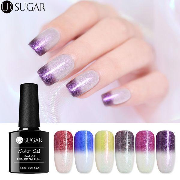 UR SUGAR Thermal Color Changing Gel Nail Polish Sunlight Sensitive UV Gel 7.5ml Glitter Soak Off UV Varnish Nail Art Lacquer