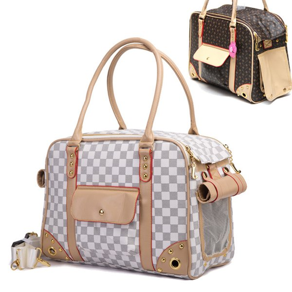 Pet cat mall dog travel luxury pu leather carrier bag outdoor foldable portable dog chihuahua carry tote hopping bag handbag
