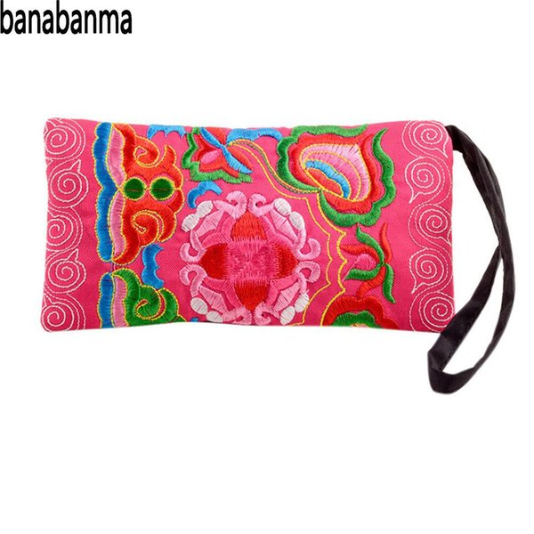 banabanma women handbag girl ethnic coin purse flower embroidery handbag zipper change bag bags for women 2018 zk50 (425399029) photo