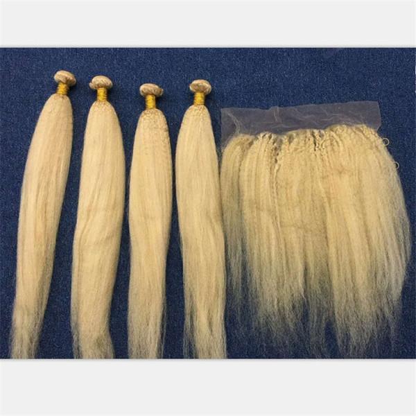 Kinky traight 613 blonde brazilian virgin hair 3bundle with frontal clo ure italian coar e yaki blonde 13x4 full lace frontal with weave
