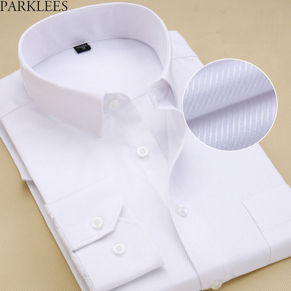 Men's Slim Fit Spread Collar White Drees Shirt 2018  New Cotton High-quality Chemise Formal Social Office Shirt For Men 8XL