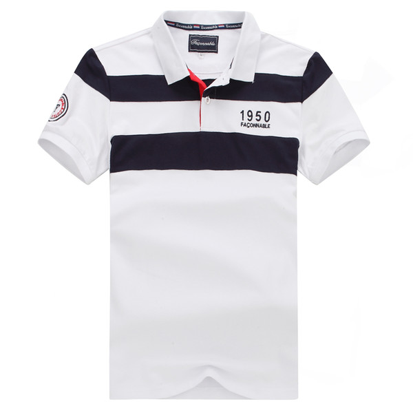 Нового Faconnable самой лучшей продавая полоса Short Polo For Men Nice Quality Большого размер M L XL XX фото