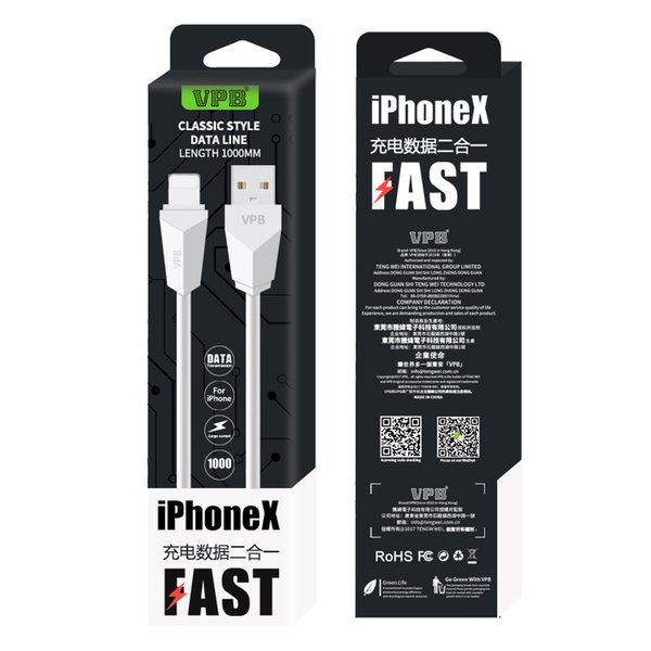 Vpb fa t charging 1m 3ft phone cable data  ync cord for iphone x x  max xr 6 7 8 plu  charger cable with retail packing