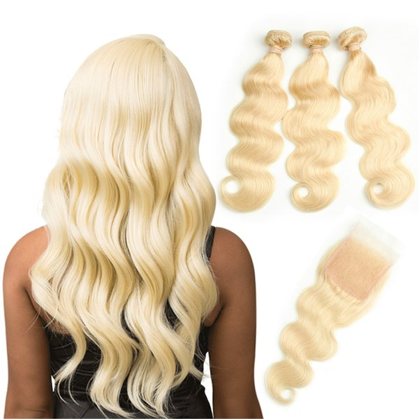 HCDIVA Hair Extensions Body Wave 613 Blonde Human Hair Bundles with Closure 3 Bundles With 4X4 Lace Closure For Hair Salon 10-30 inch Long
