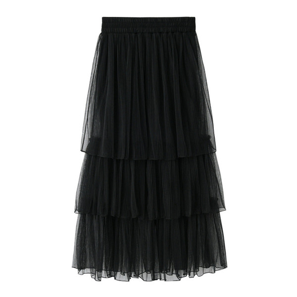 2018 New Summer Skirt Women Tulle Maxi Skirts Black Gray Mesh Puffy Pleated Layers Tiered Long Sweet Saias Femininas